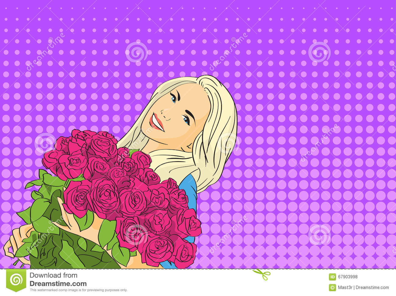 Woman Hold Rose Flower Bouquet March Pop Art Colorful Retro Style Stock Vector Illustration Of Poster Female 67903998