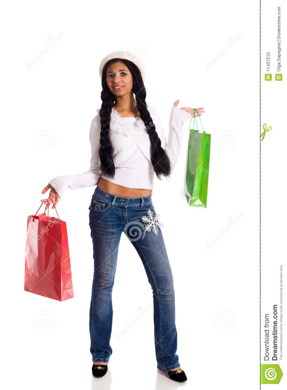 Unique Shopping Woman Holding Shopping Bags Stock Photo - Image 14250584