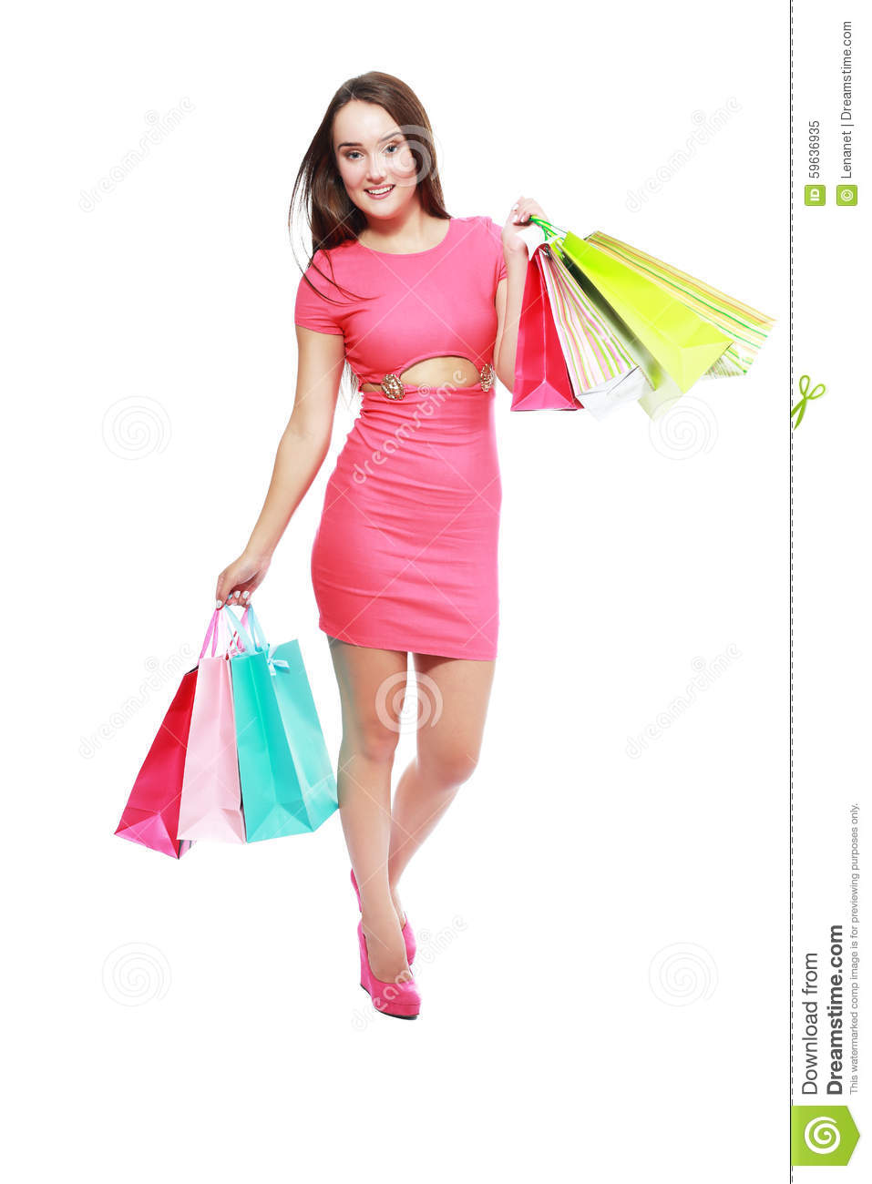 Model Young Woman Holding Christmas Gift Bags Royalty Free Stock Photos - Image 22372678