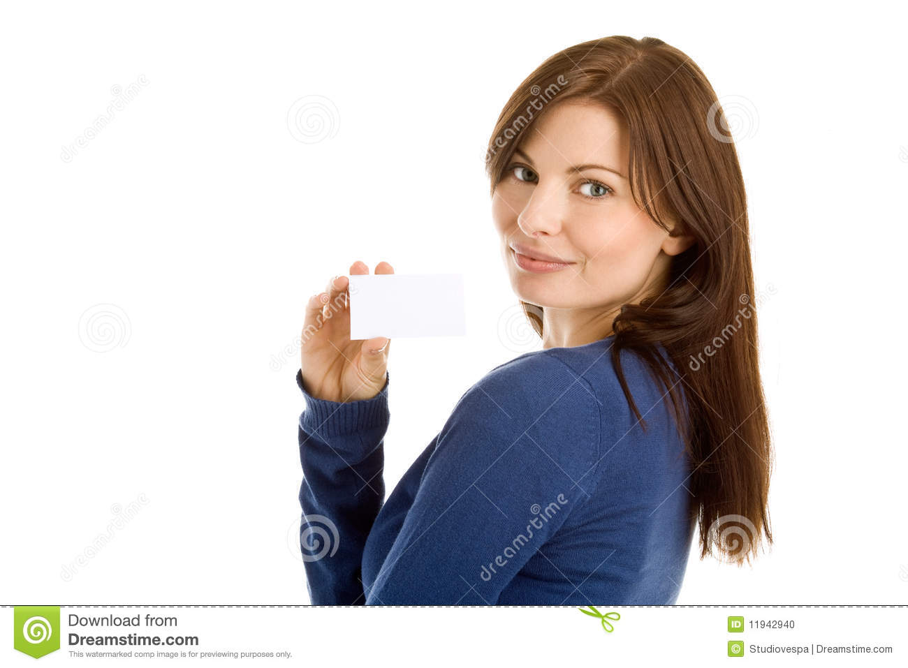 Woman holding blank business card