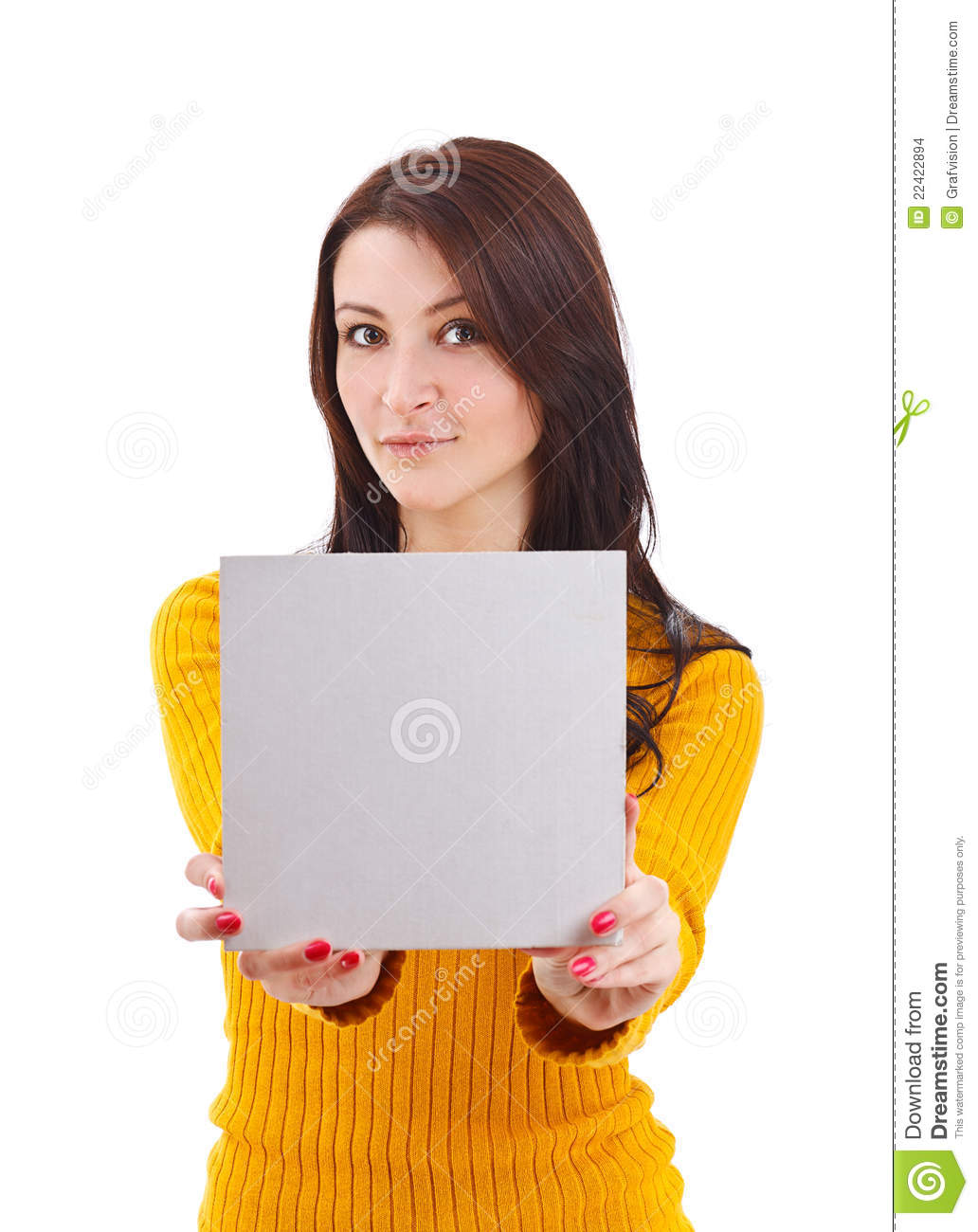 woman holding blank card stock photo image of cheerful