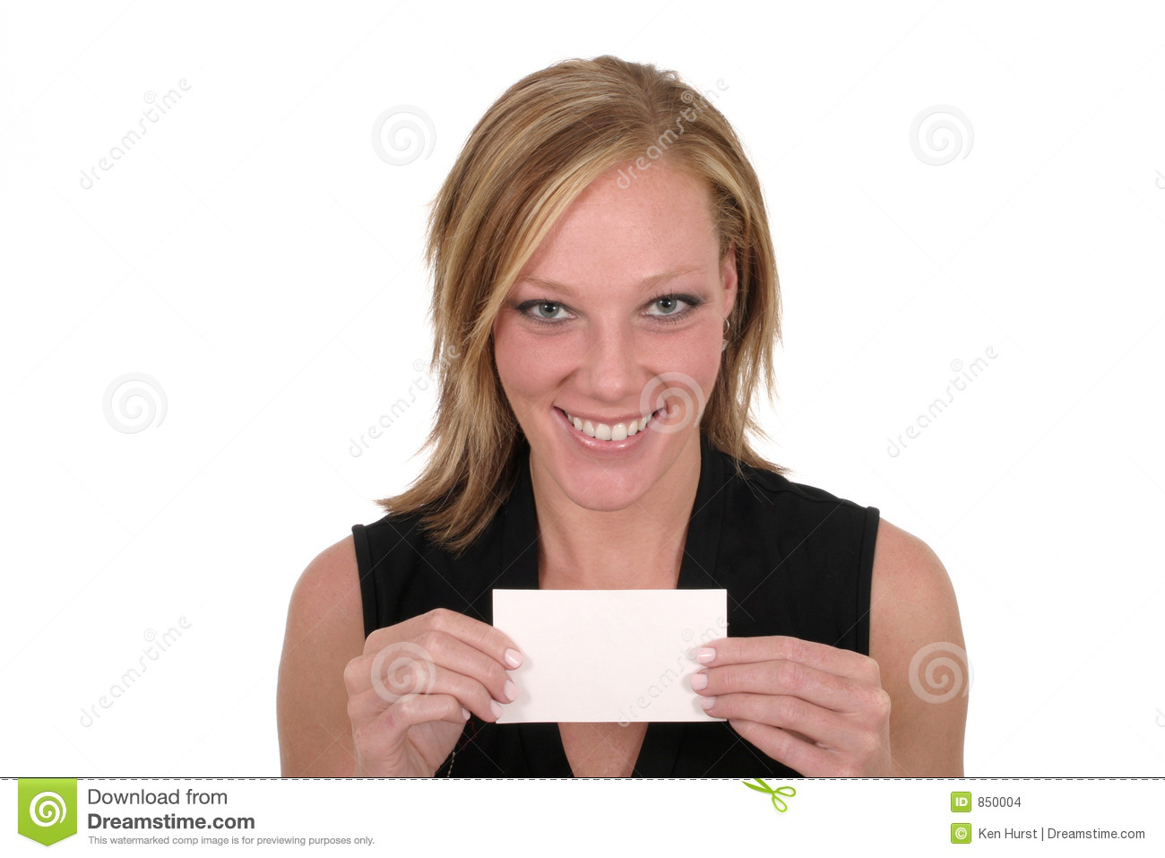 woman holding blank card 6 stock photo image of isolated