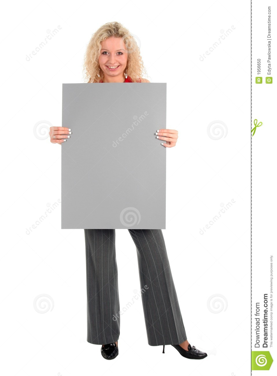woman holding blank poster board stock photo image of background