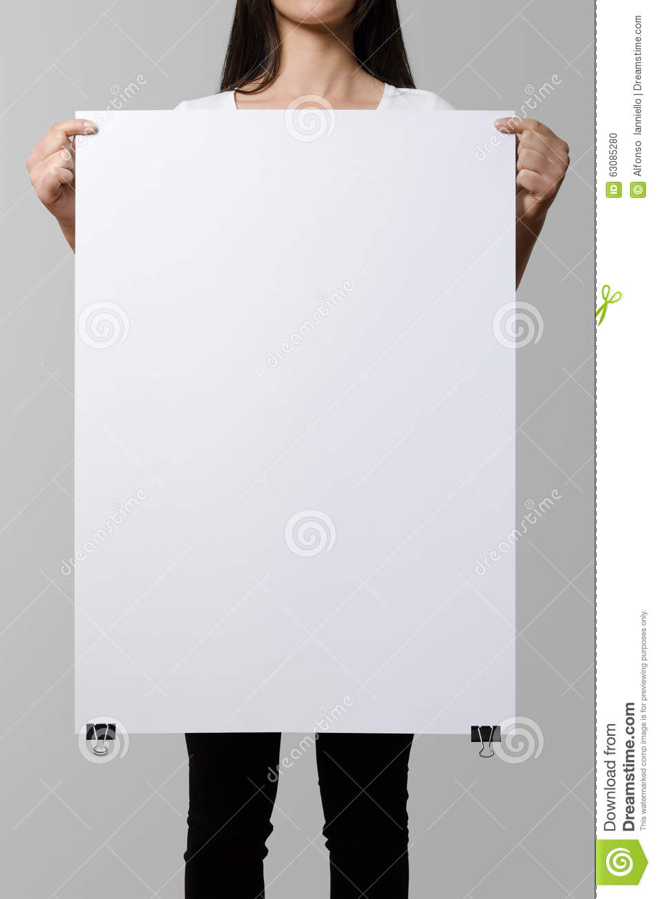 Woman holding a blank poster.