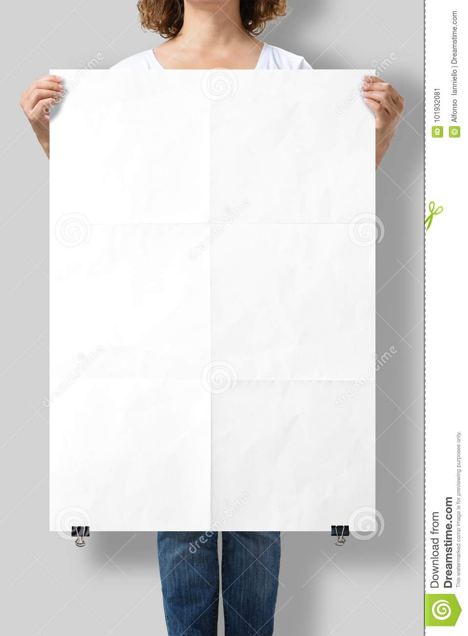 Woman holding a blank A1 poster mockup.