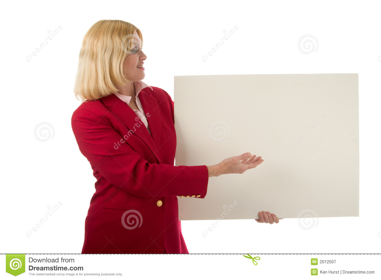 Woman Holding Blank Sign 2