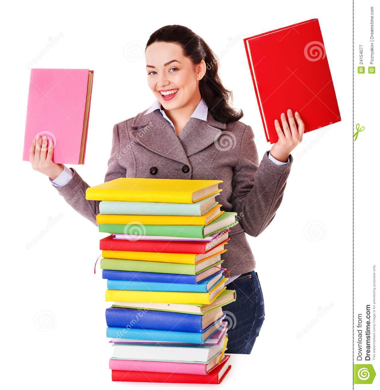 Woman holding book.