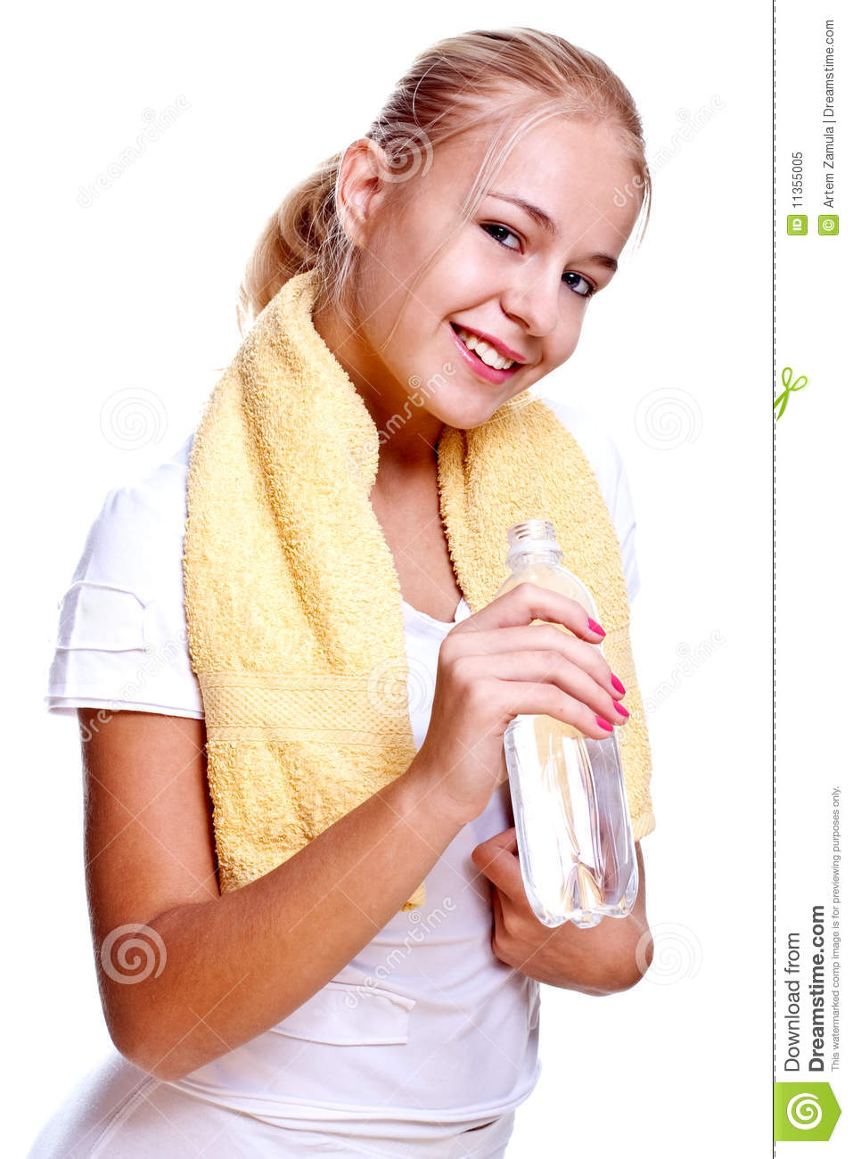 Woman Holding A Bottle Of Water Royalty Free Stock Photo ...