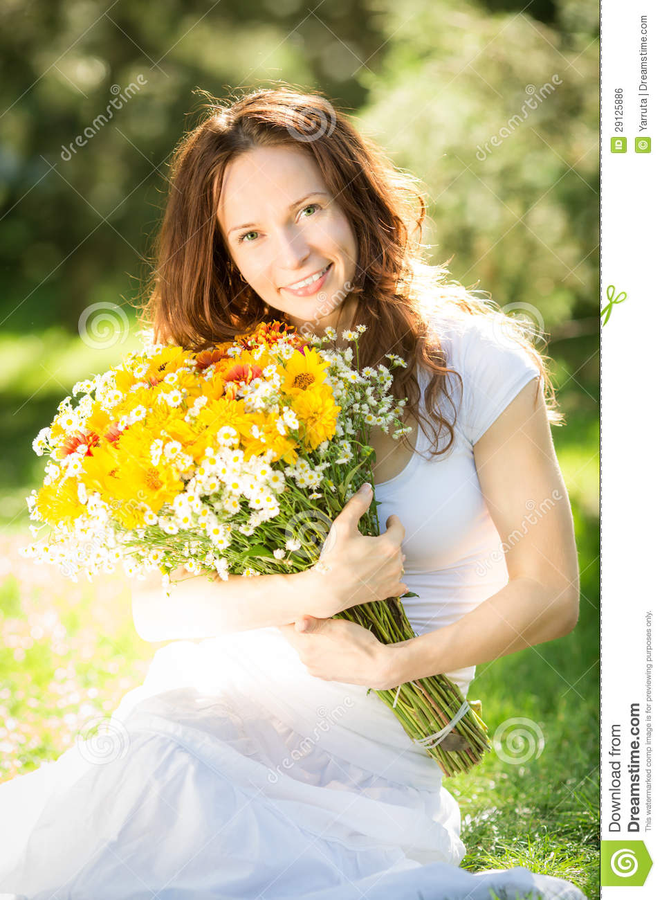 Woman Holding Bouquet Of Flowers Stock Photo - Image: 29125886