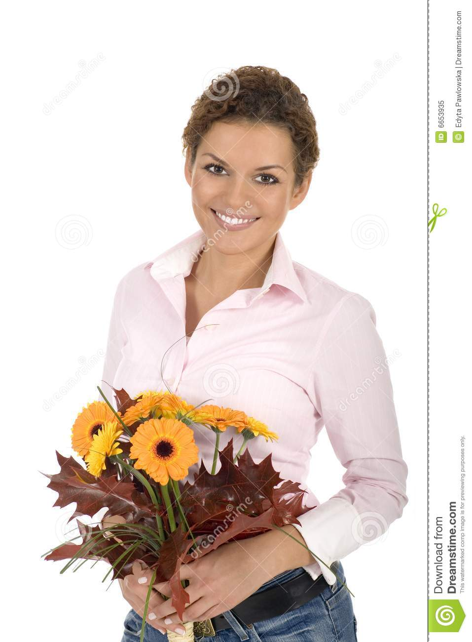 Woman Holding Bunch Of Flowers Royalty Free Stock Photo ...