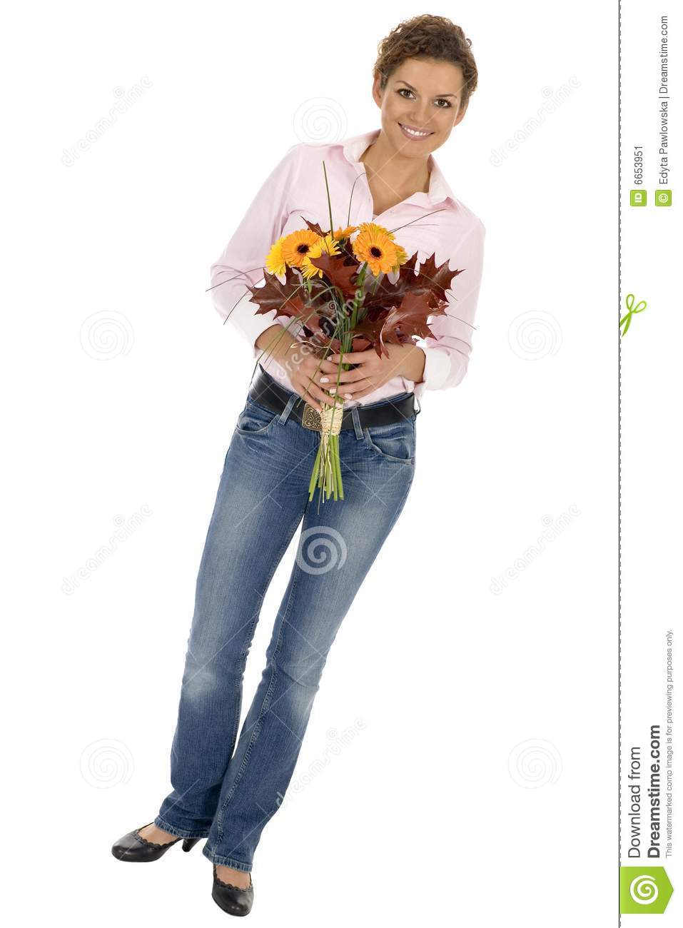 Woman Holding Bunch Of Flowers Royalty-Free Stock Image ...