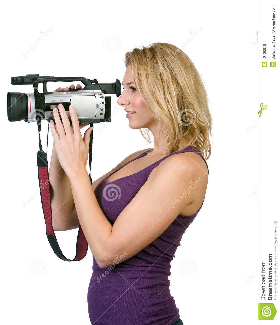 Woman holding camcorder stock image. Image of recording ...