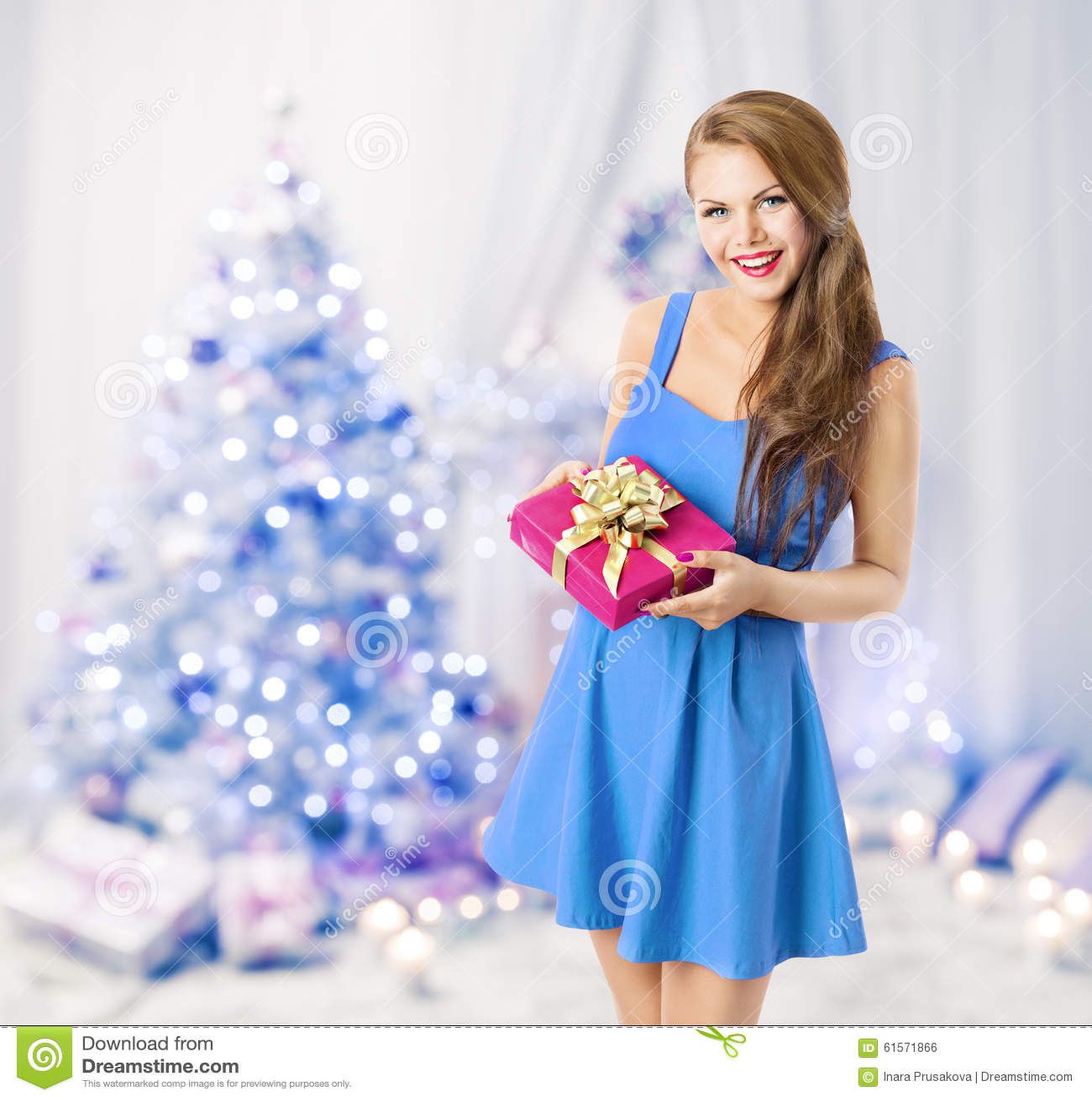 Woman Holding Christmas Present Gift Box, Model Girl, Blue Tree
