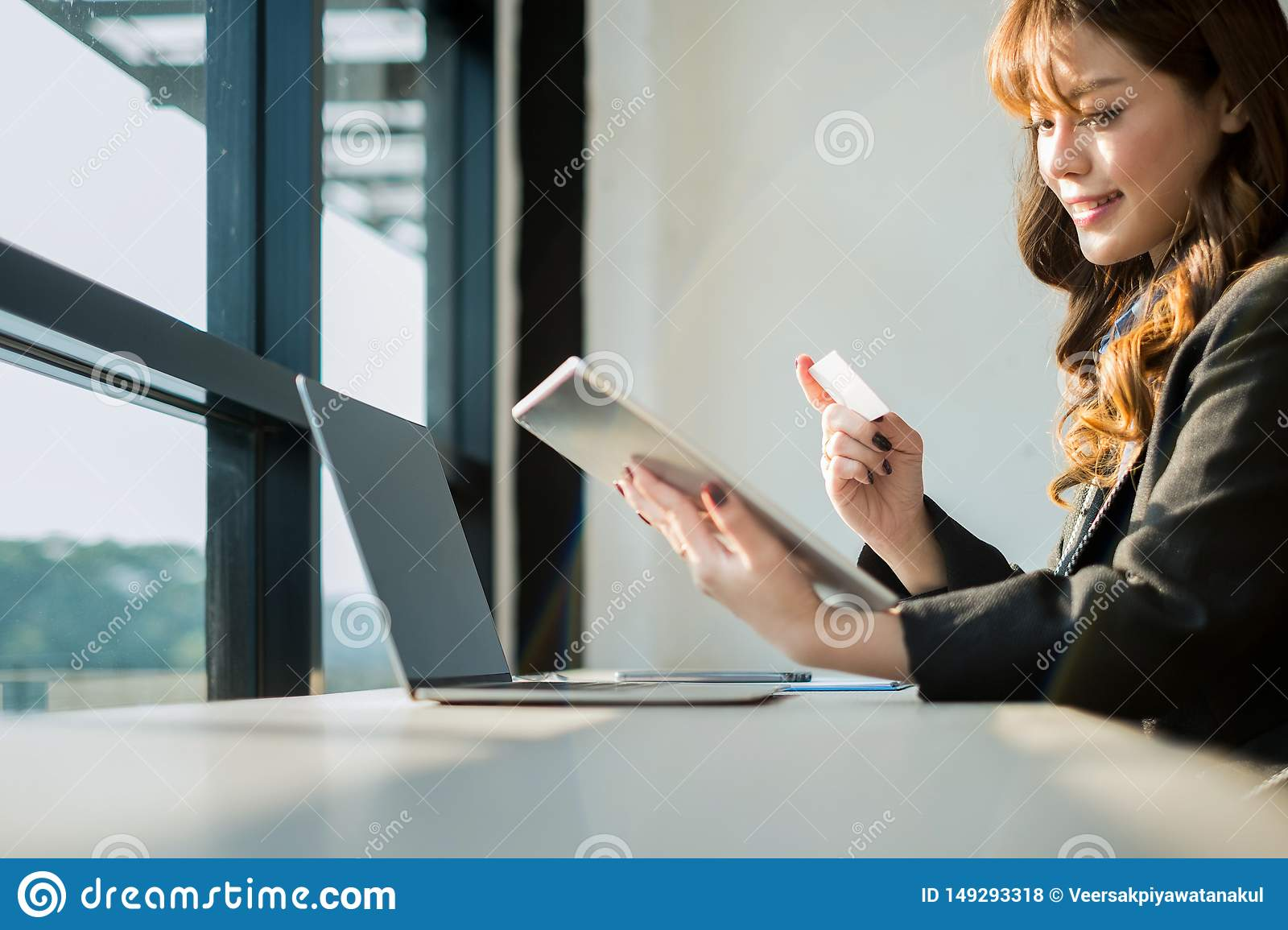 Woman Holding Credit Card And Using Laptop And Smartphone Shopping Website Online, Shopping ...