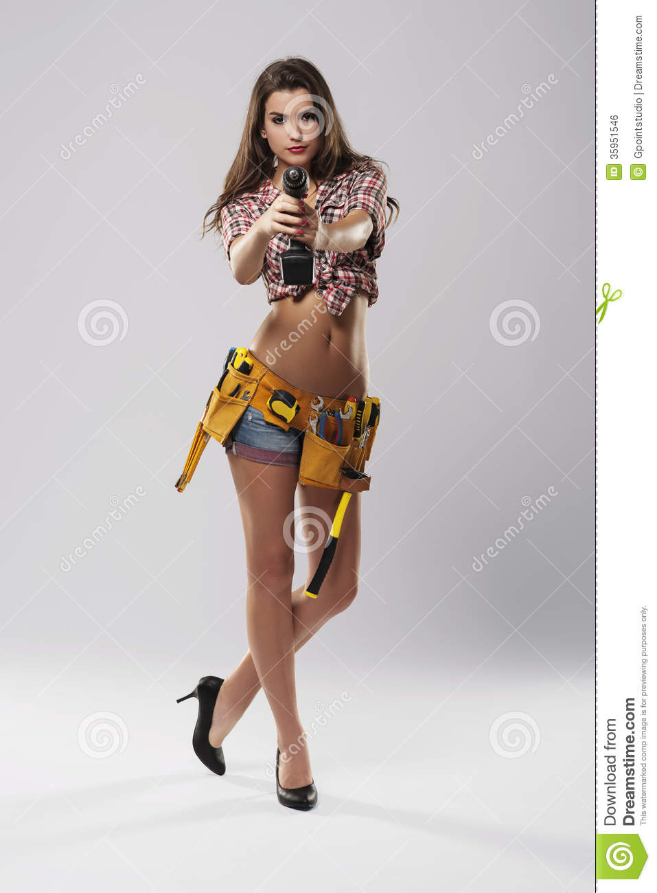 Sexy construction worker girl painting the walls naked 5