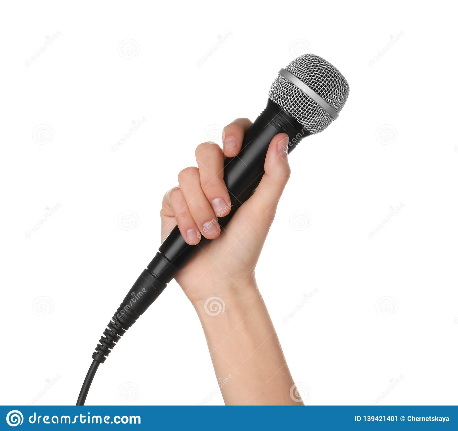 Woman holding dynamic microphone on white background