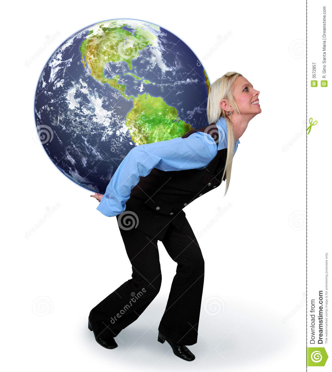 woman holding the earth stock image image of holding 3572857