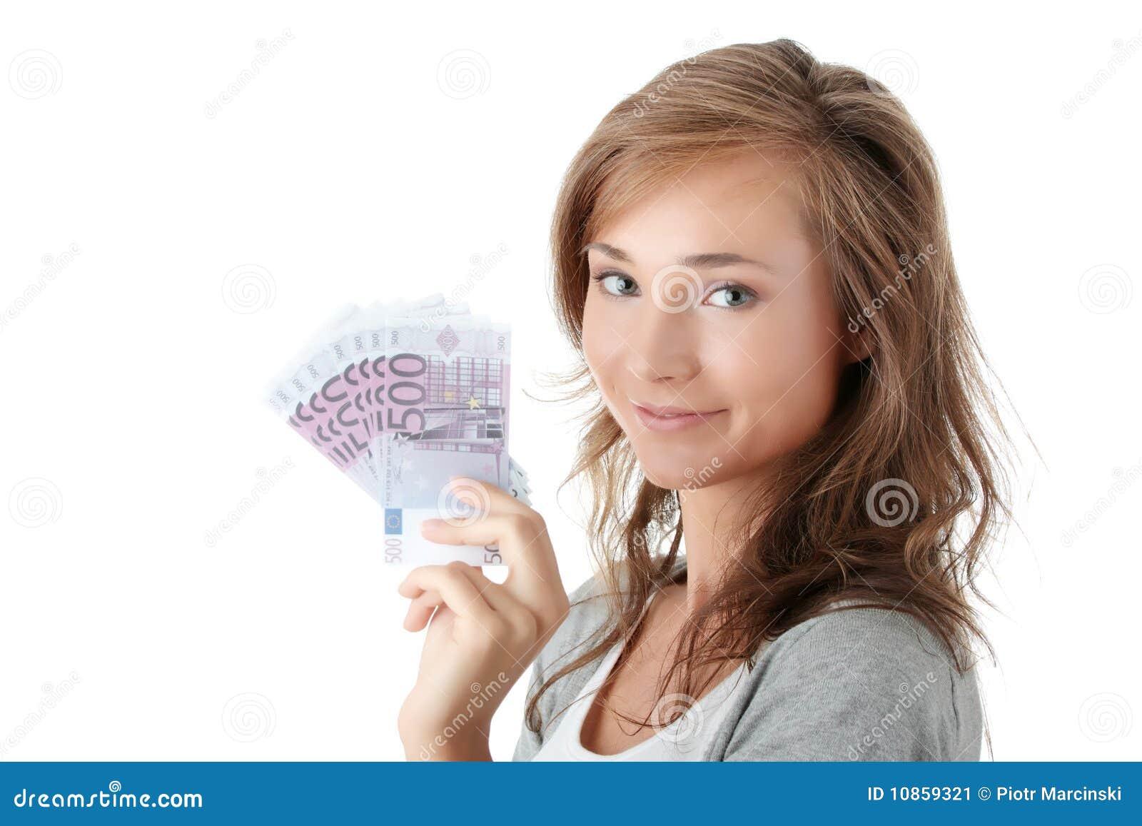 Woman Holding Euro Money Stock Image - Image: 10859321