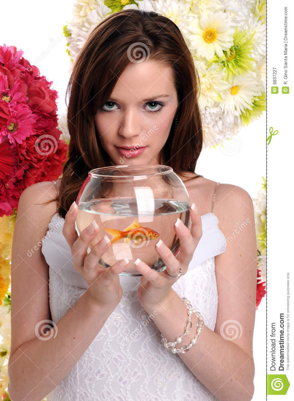 woman holding fish bowl royalty free stock photography