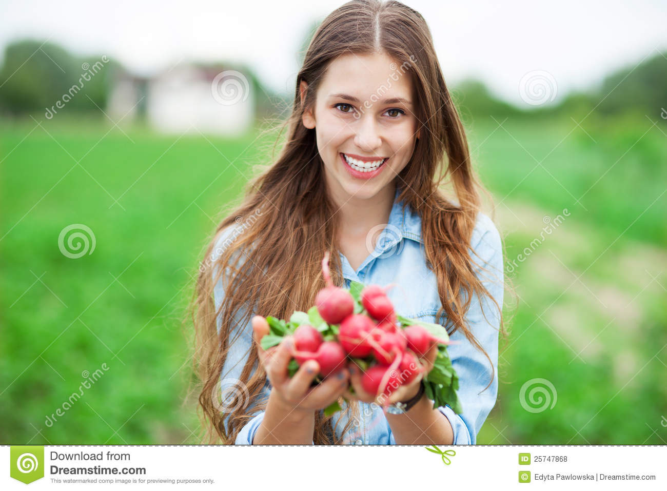 Woman Holding Fresh Radishes