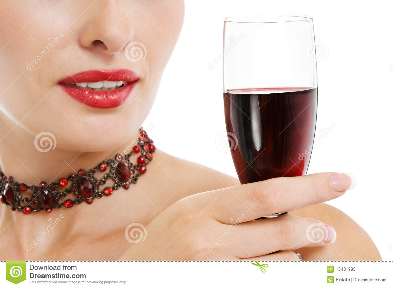 Woman Holding A Glass Of Red Wine Stock Photos - Image ...