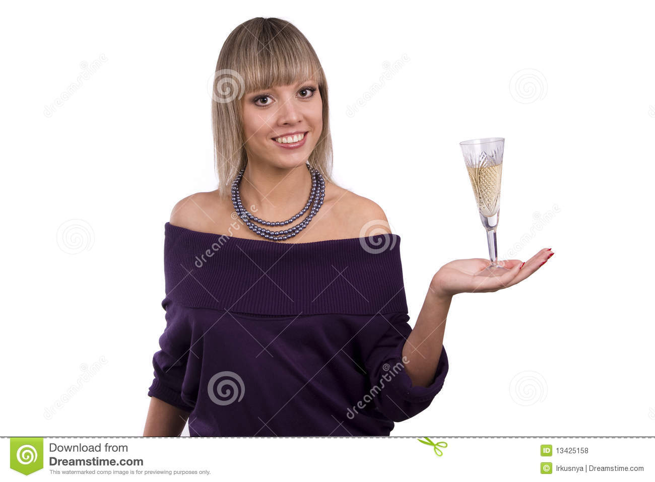 Woman Is Holding A Glass Of White Wine Royalty Free Stock ...