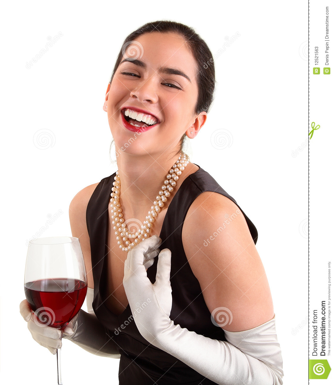 Woman Holding A Glass Of Wine And Laughing Stock Photos ...