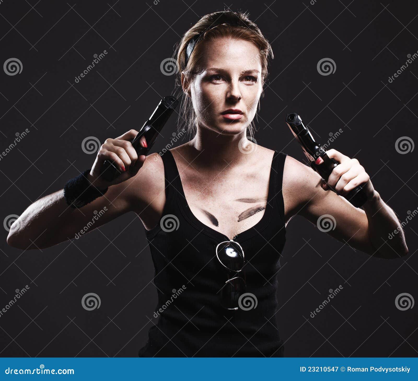 Gun Woman Royalty Free Stock Image - Image: 15253826