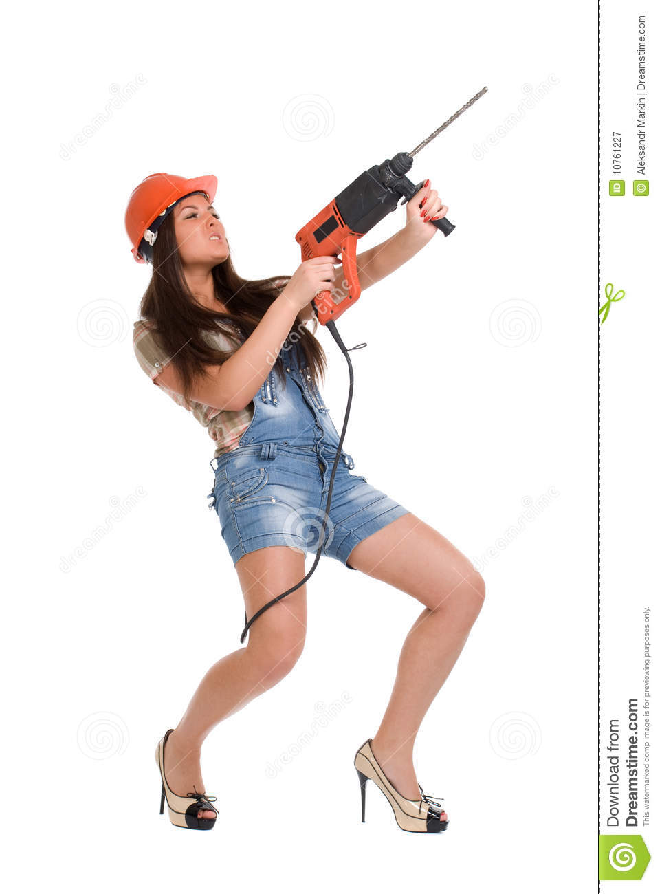 Woman Holding Hammer Drill 2 Royalty Free Stock