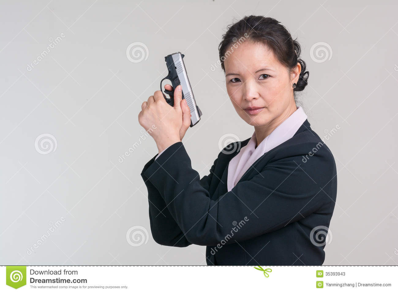 Woman Holding A Hand Gun Stock Image Image Of Asian 35393943
