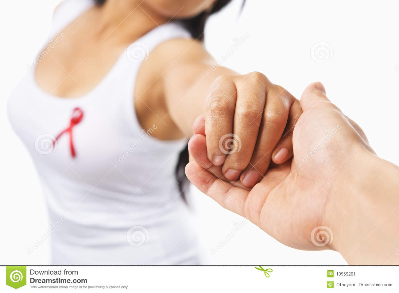 Woman holding hand to support AIDS cause