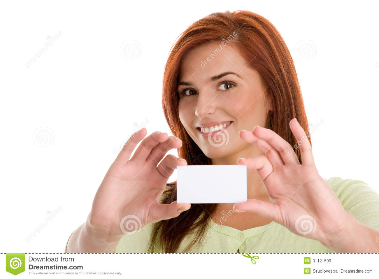 Woman holding her visiting card