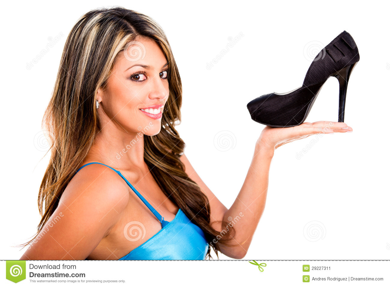 Woman holding a high-heel stock image. Image of attractive ...