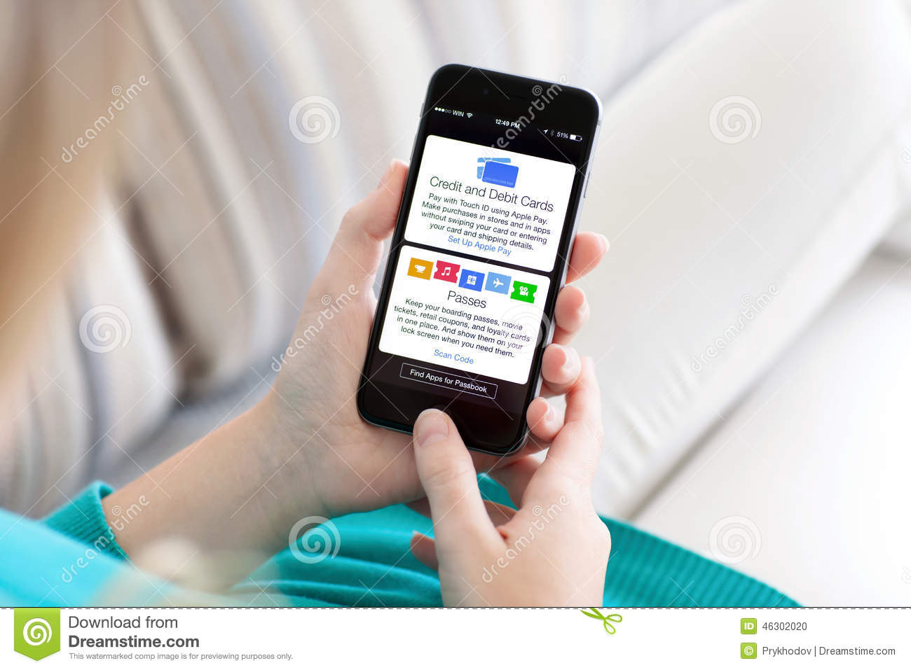 Woman holding iphone 6 with apple pay and passbook editorial image download woman holding iphone 6 with apple pay and passbook editorial image image of apple colourmoves