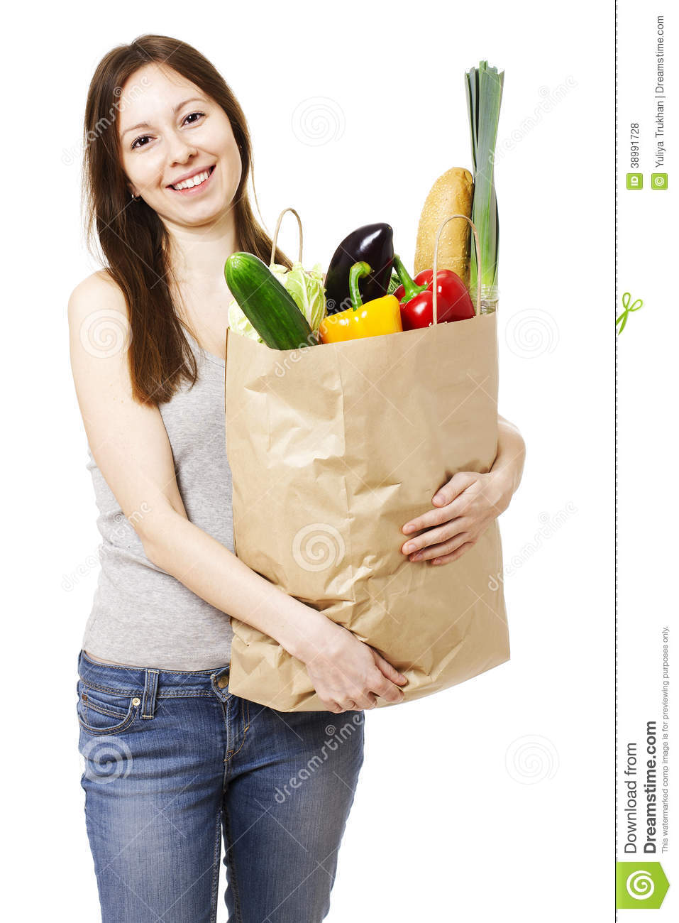 Innovative Young Smiling Woman Holding Shopping Bags Royalty Free Stock Photo - Image 27321605