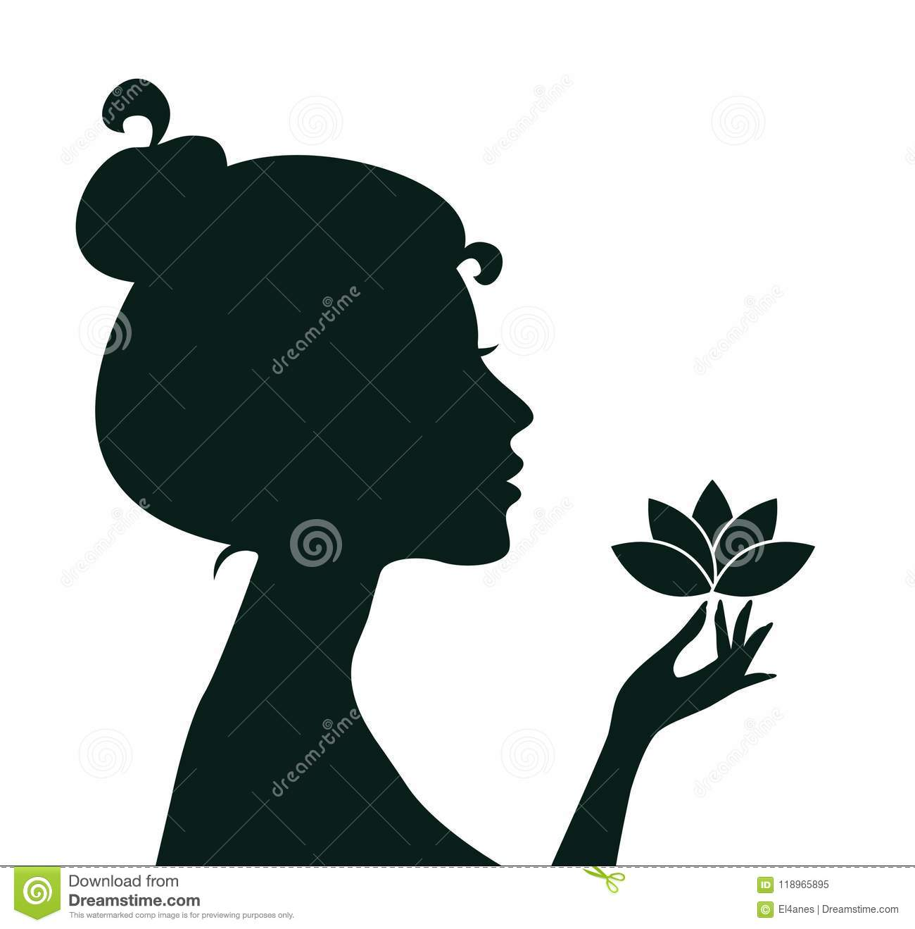 Woman Holding Lotus Flower Stock Vector Illustration Of Gynecology