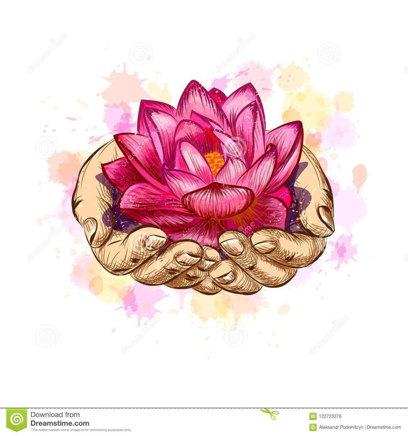 Woman Holding A Lotus Flower Stock Vector Illustration Of Flower