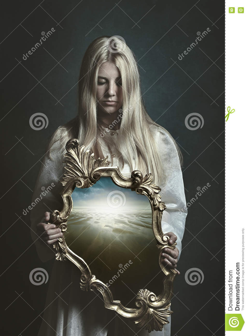 Woman holding magical mirror