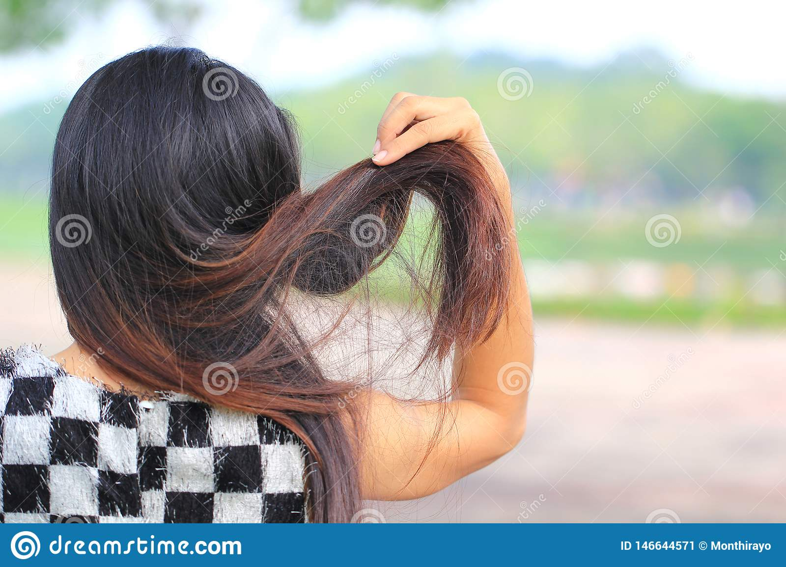 Woman holding messy damaged dry hair in hands on nature background, Haircare concept