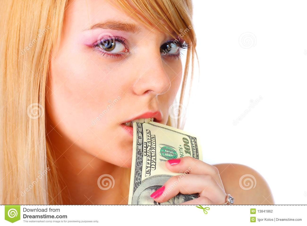 Woman Holding Money Stock Photography - Image: 13841862