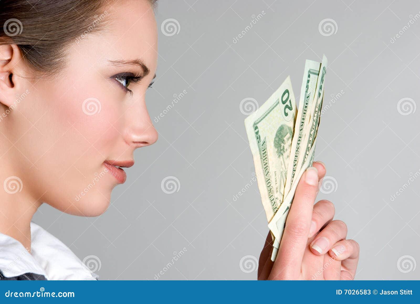 Woman Holding Money Stock Photos - Image: 7026583