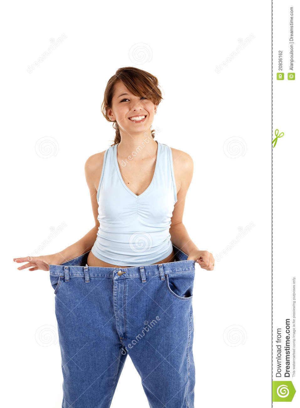 Woman holding out big pants