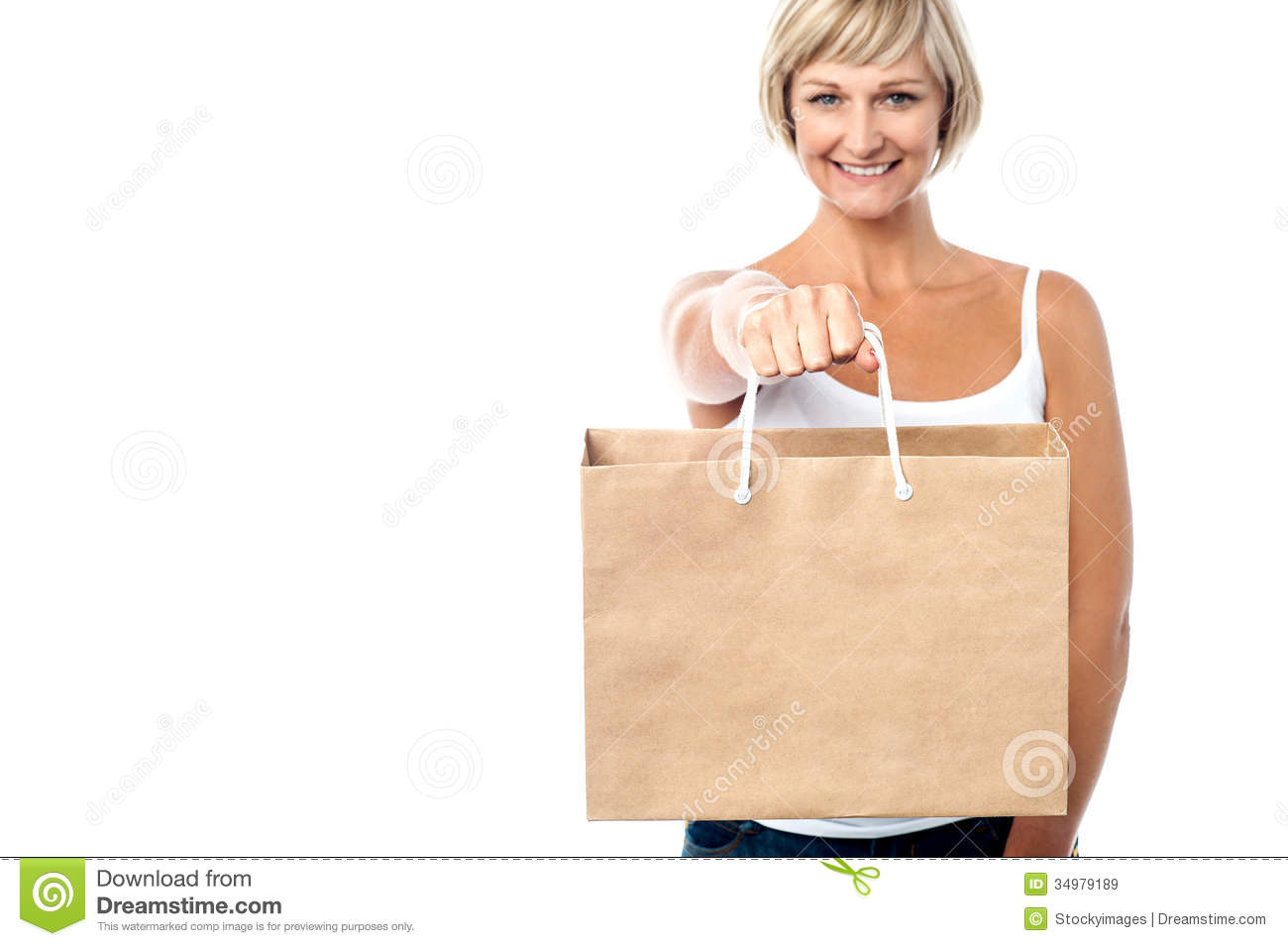 Popular Young Woman Holding A Grocery Bag Stock Image - Image 14052851
