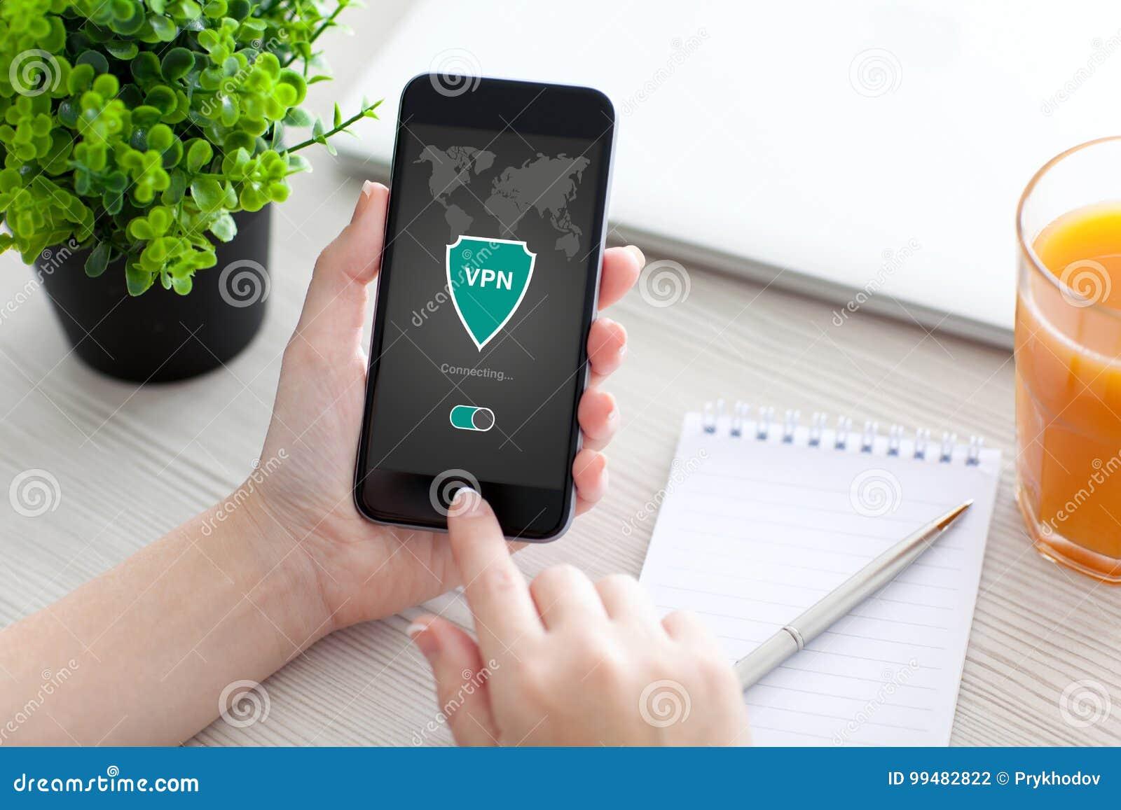 Woman Holding Phone App Vpn Creation Internet Protocols