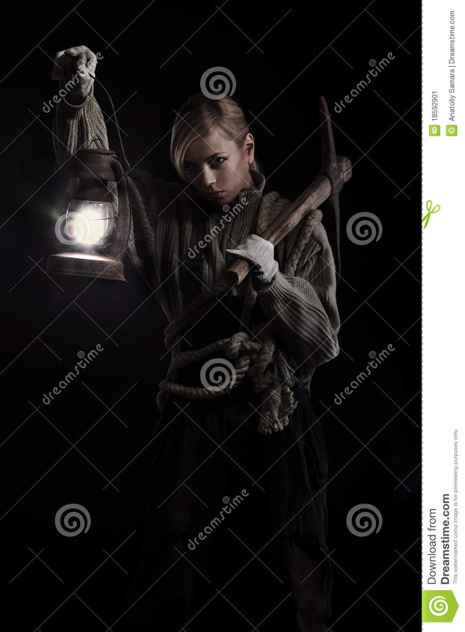 Woman Holding Pick And Oil Lamp Stock Image - Image of mine, miner ... for Girl Holding Lamp  146hul