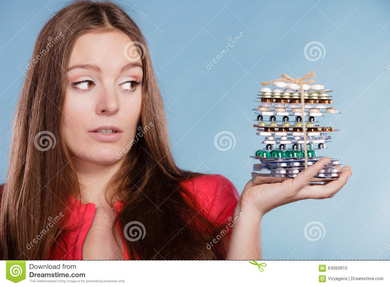 woman holding pills tablets drug addict stock image image of