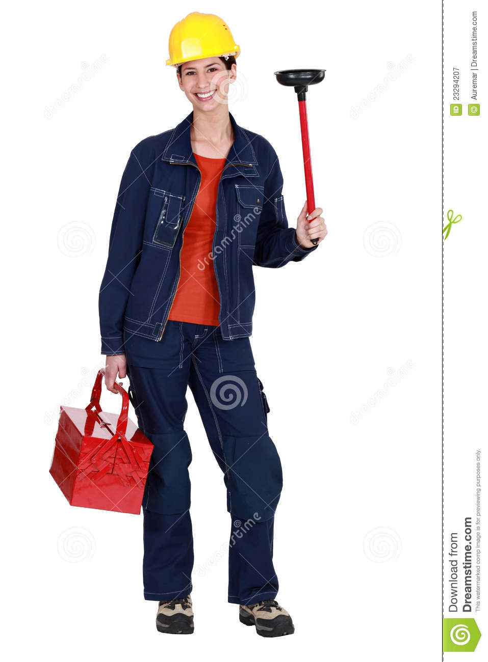 Woman holding plunger