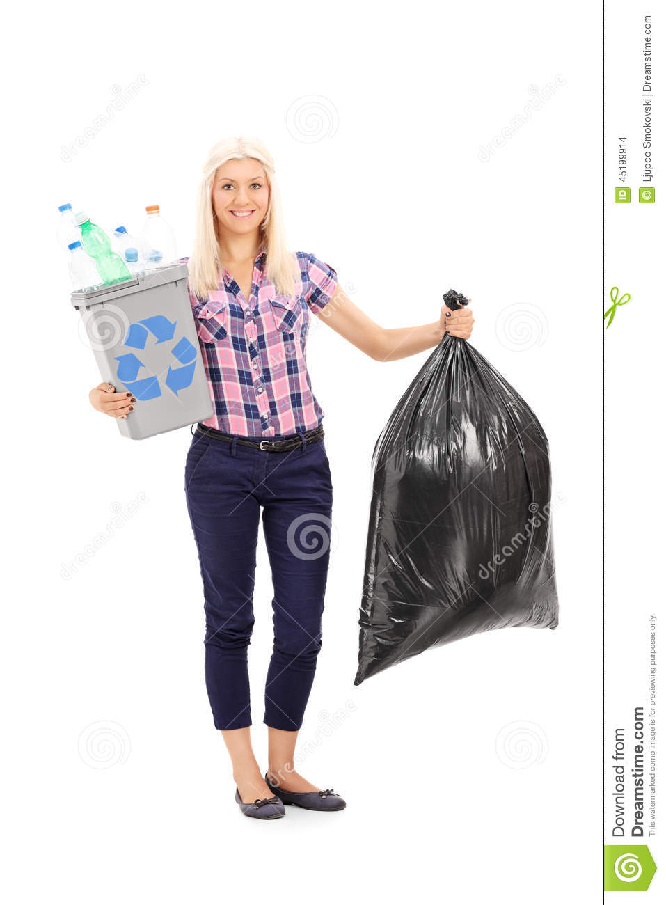 ... holding a recycle bin and a trash bag isolated on white background