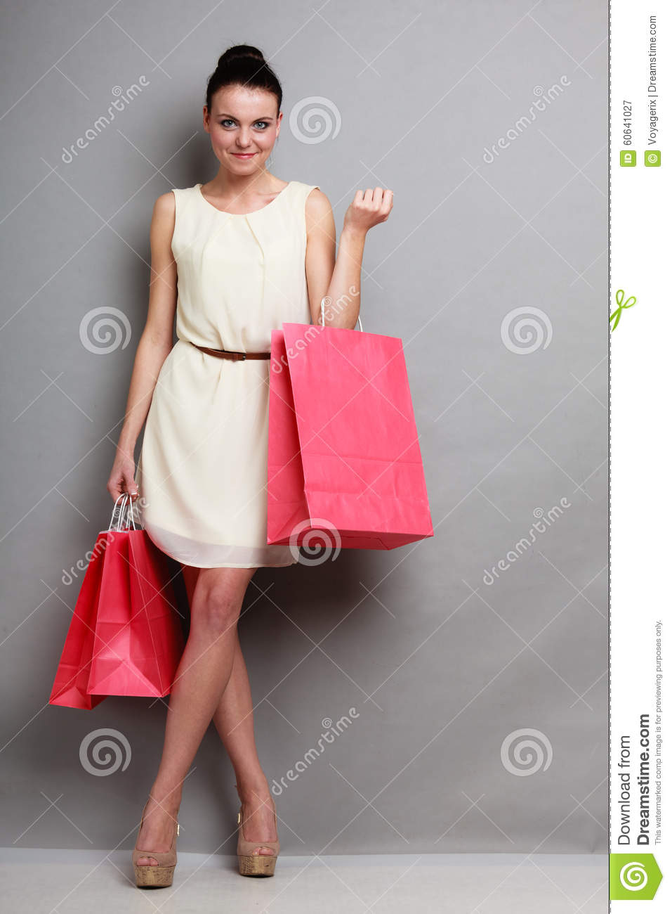 Wonderful Shopper Woman Holding Shopping Bags Stock Photo - Image 26351142