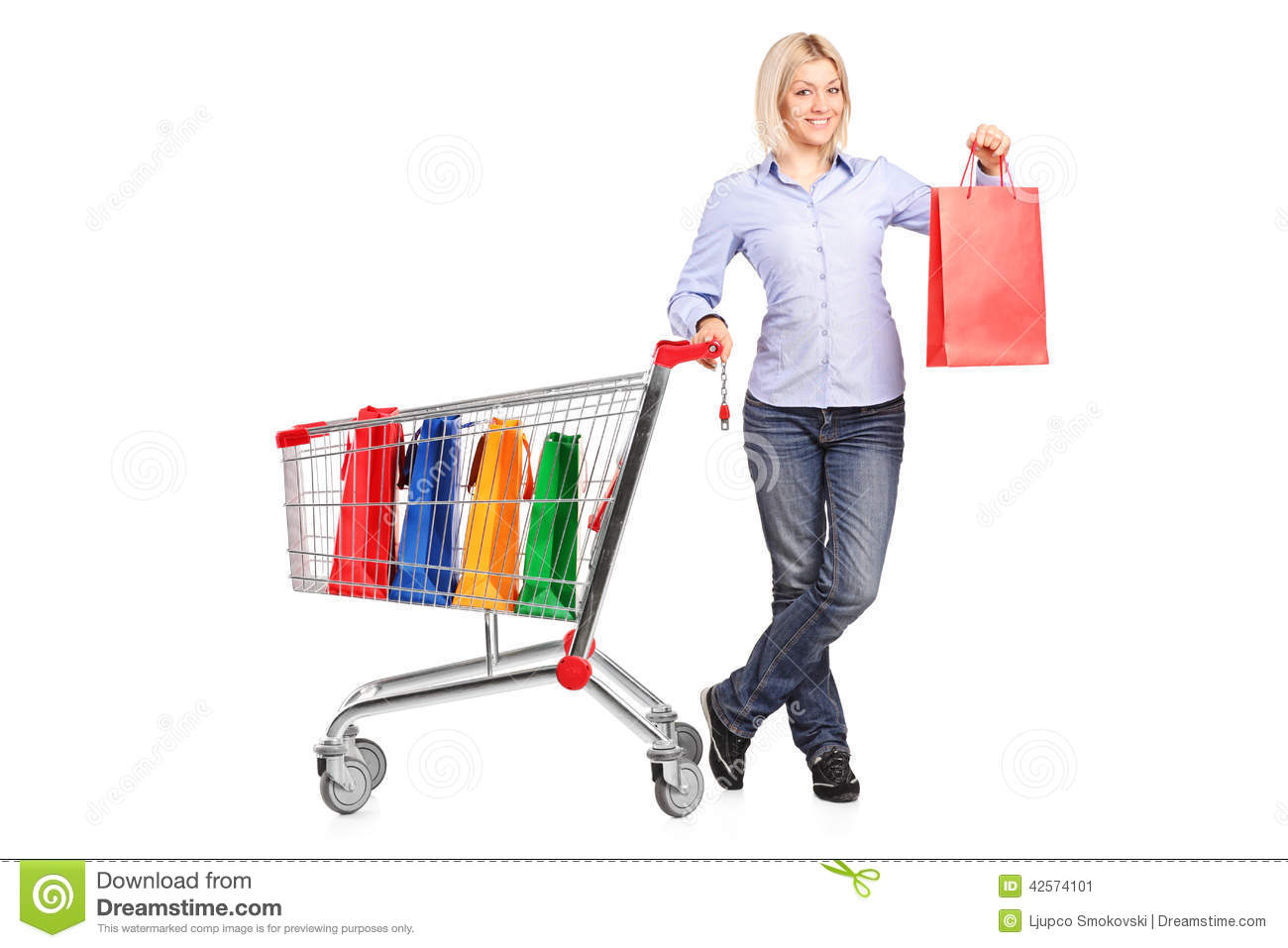 Customer Pushing Shopping Cart Stock Images - Image: 17614654